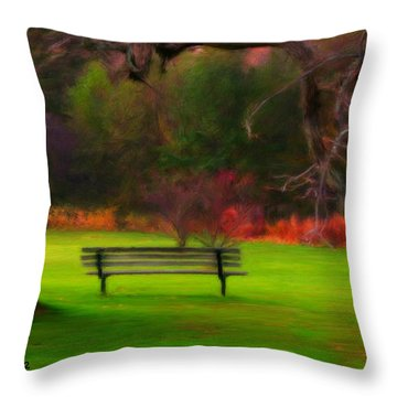 Throw Pillow featuring the painting Park Bench by Bruce Nutting