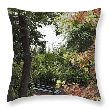 Throw Pillow featuring the photograph Park Bench by Kate Brown