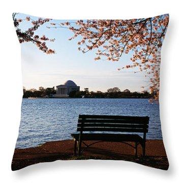 Park Bench With A Memorial Throw Pillow