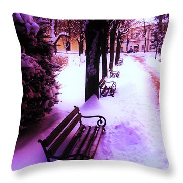 Park Benches In Snow Throw Pillow by Nina Ficur Feenan