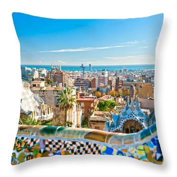 Park Guell - Barcelona Throw Pillow by Luciano Mortula