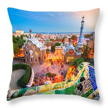 Park Guell In Barcelona - Spain Throw Pillow