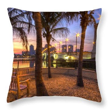 Park On The West Palm Beach Wateway Throw Pillow by Debra and Dave Vanderlaan