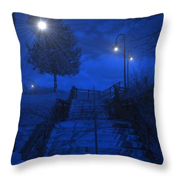Park Stairs Throw Pillow by Michael Rucker