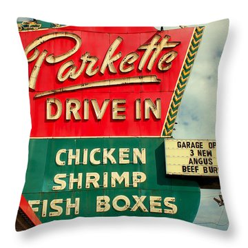 Parkette Drive-in Throw Pillow