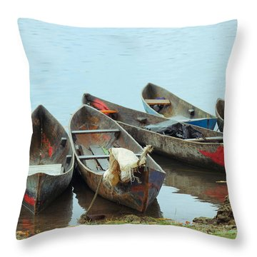 Parking Boats Throw Pillow by Jola Martysz