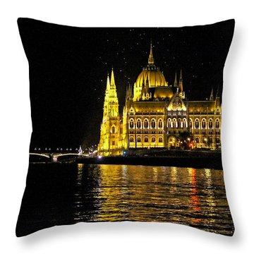 Parliament At Night Throw Pillow