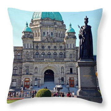 Parliament Building Dome. Victoria British Columbia Throw Pillow by Connie Fox