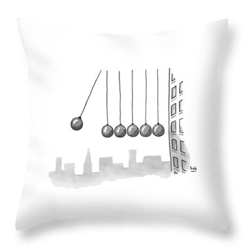 Parody Of Newton's Cradle. Six Wrecking Balls Throw Pillow