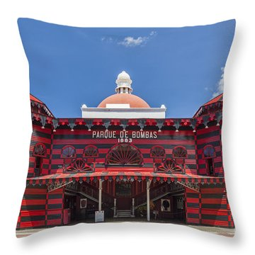 Throw Pillow featuring the photograph Parque De Bombas Fire Station In Ponce Puerto Rico by Bryan Mullennix