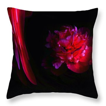 Parrot And Paeony Illusion Throw Pillow