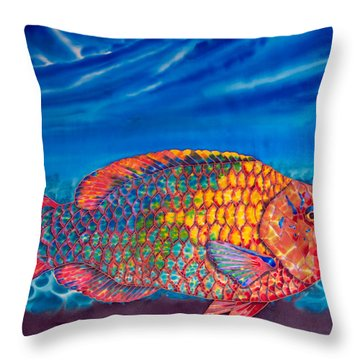 Parrot Fish Throw Pillow by Daniel Jean-Baptiste