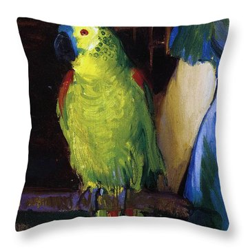 Parrot Throw Pillow by George Wesley Bellows