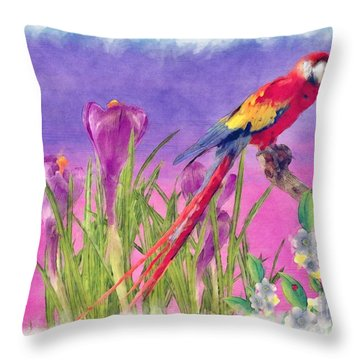 Parrot Throw Pillow by Liane Wright