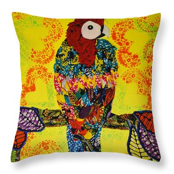 Throw Pillow featuring the tapestry - textile Parrot Oshun by Apanaki Temitayo M