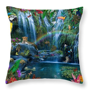 Parrot Tropics Throw Pillow