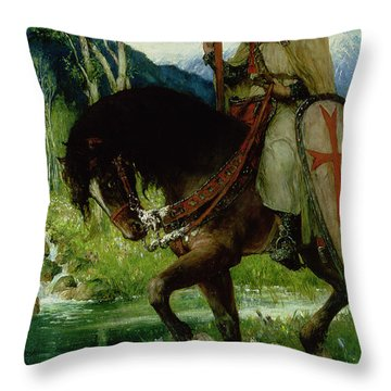 Parsifal In Quest Of The Holy Grail Throw Pillow by Ferdinand Leeke
