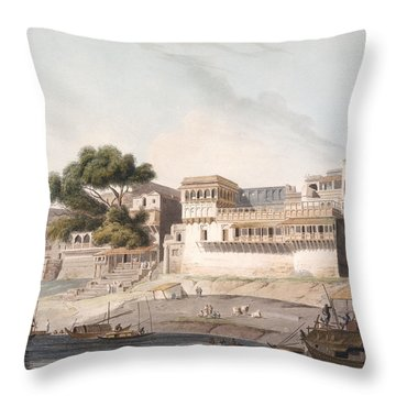 Part Of The City Of Patna, On The River Throw Pillow by Thomas Daniell