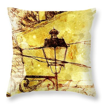 Partial Wall And Lamp Throw Pillow