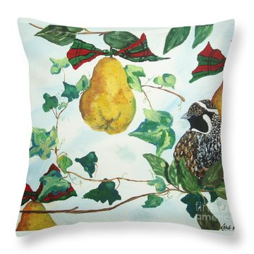 Partridge And  Pears  Throw Pillow