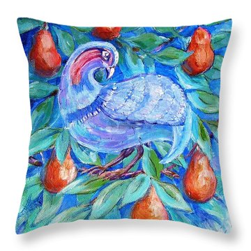 Partridge In A Pear Tree  Throw Pillow by Trudi Doyle
