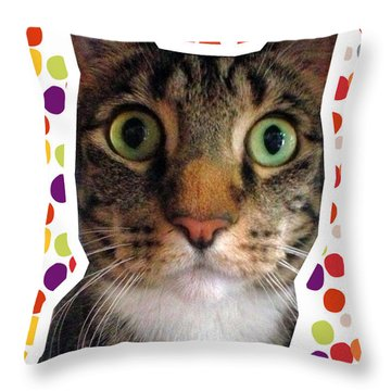Party Animal- Cat With Confetti Throw Pillow