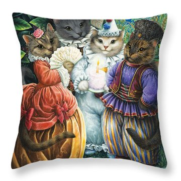 Party Cats Throw Pillow