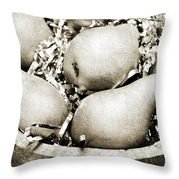 Party Pears Bw Throw Pillow by Andee Design