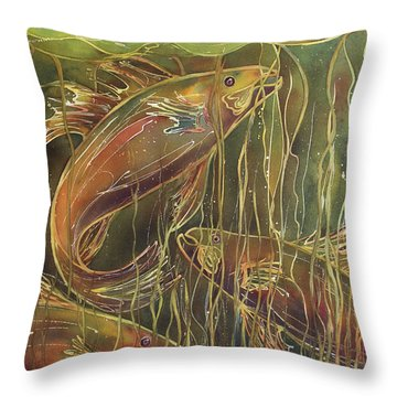 Party Under The Lily Pads II Throw Pillow