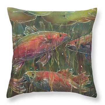 Party Under The Lily Pads Throw Pillow