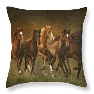 Throw Pillow featuring the photograph Paso Peruvians by Priscilla Burgers