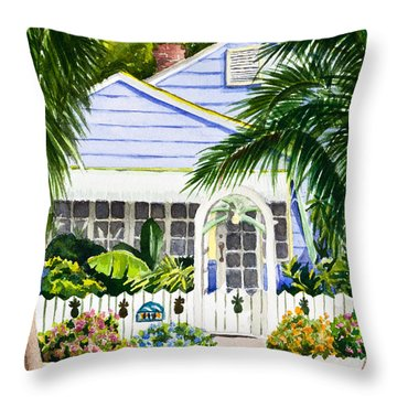 Pass-a-grille Cottage Watercolor Throw Pillow