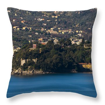 Throw Pillow featuring the photograph Rapallo And Pagana Coast Panorama by Enrico Pelos