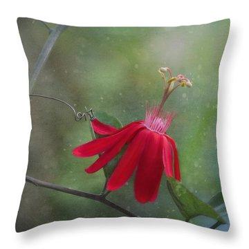 Passiflora Flower Throw Pillow by Kim Hojnacki