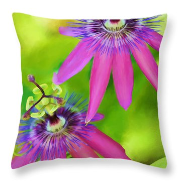 Passiflora Piresii Vine  - Passiflora Twins Throw Pillow by Michelle Wiarda