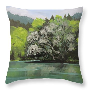 Throw Pillow featuring the painting Passing by Karen Ilari