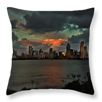 Passing Storm Clouds - San Diego Skyline Throw Pillow