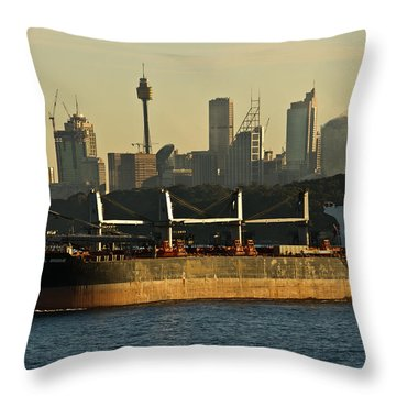 Throw Pillow featuring the photograph Passing Sydney In The Sunset by Miroslava Jurcik