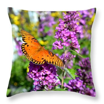 Throw Pillow featuring the photograph Passion Butterfly by Deena Stoddard