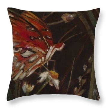 Passion Butterfly - Gulf Fritillary Throw Pillow by Mary Hubley