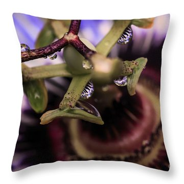 Passion Flower Droplets Throw Pillow by Mary Lou Chmura