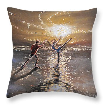 Passion To Perform Ice Skaters Golden Moment Throw Pillow