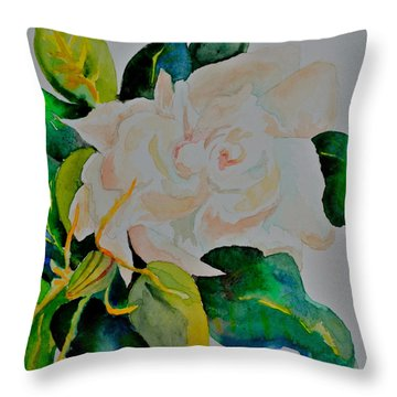 Throw Pillow featuring the painting Passionate Gardenia by Beverley Harper Tinsley