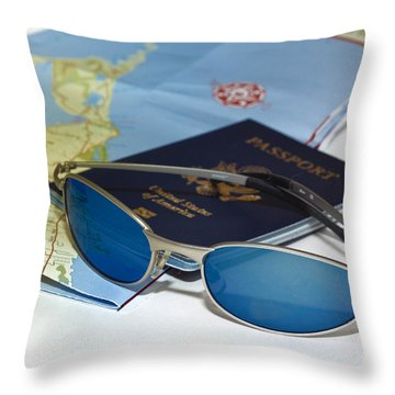 Passport Sunglasses And Map Throw Pillow by Amy Cicconi