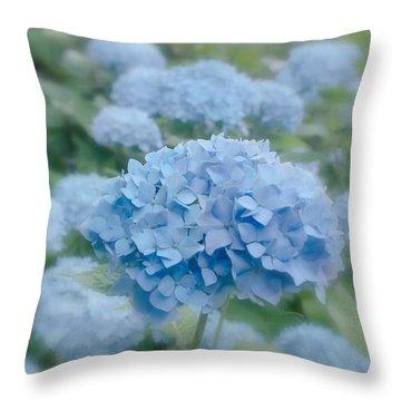 Pastel Blue Hydrangea Throw Pillow by Kim Hojnacki