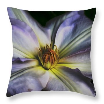 Pastel Clematis Throw Pillow by Erica Hanel