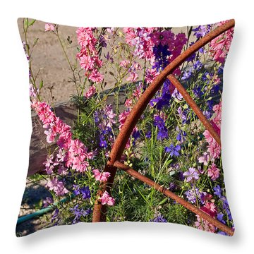 Pastel Colored Larkspur Flowers With Rusty Wagon Wheel Art Prints Throw Pillow