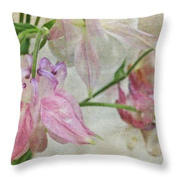 Throw Pillow featuring the photograph Pastel Columbines by Peggy Collins