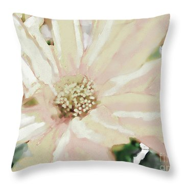 Pastel Daisy Photoart Throw Pillow by Debbie Portwood