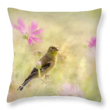 Pastel Finch In Oil Throw Pillow